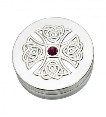 Edwin Blyde Celtic Collection 50mm Trinket Box Amethyst Cross