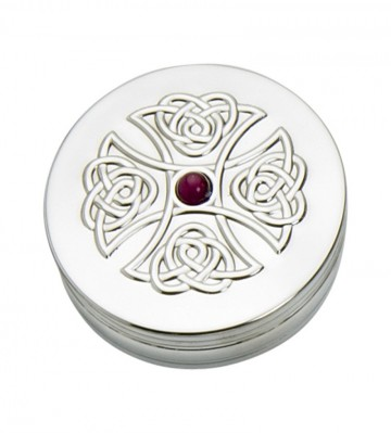 Edwin Blyde Celtic Collection 90mm Trinket Box Amethyst Cross