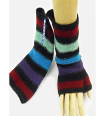 The Scarf Company 100% Lambswool Ladies Wristlets - Red/Blue Mix