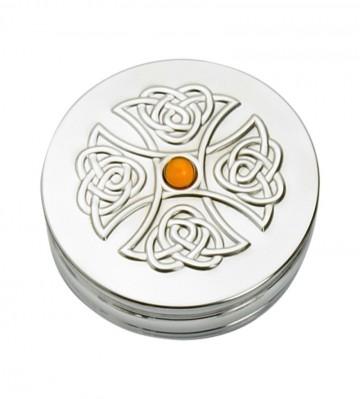 Edwin Blyde Celtic Collection Trinket Box Topaz Cross