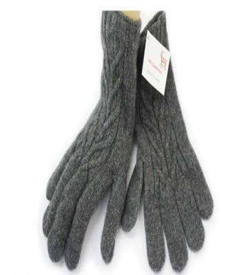 The Scarf Company Derby Grey Cashmere 3 Ply Ladies' Cable Knit Gloves