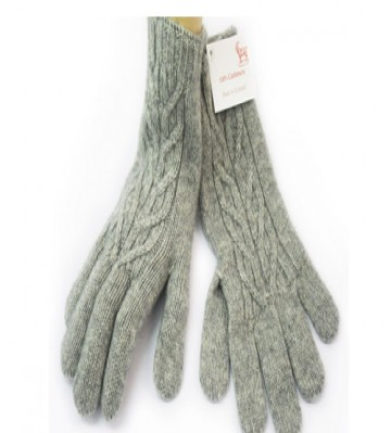 The Scarf Company Flannel Grey Cashmere 3 Ply Ladies' Cable Knit Gloves