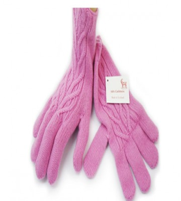 The Scarf Company Gossip Pink Cashmere 3 Ply Ladies' Cable Knit Gloves