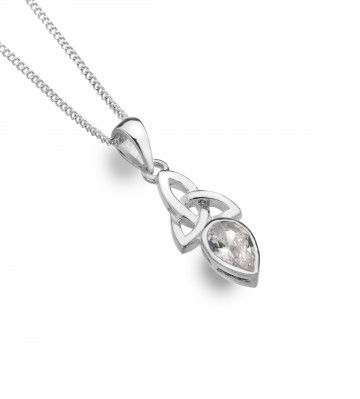 Celtic Trinity Sterling Silver April Birthstone Pendant Necklace