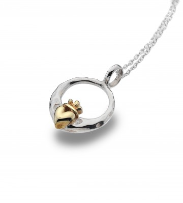 Celtic Claddagh & Brass Heart Sterling Silver Pendant Necklace
