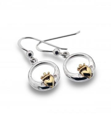 Celtic Claddagh & Brass Heart Modern Sterling Silver Earrings