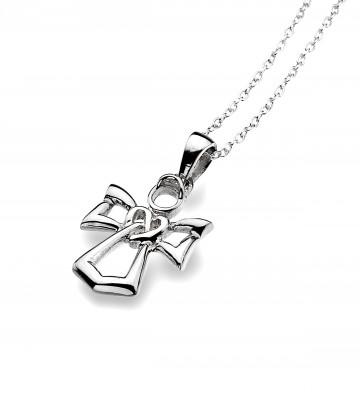Celtic Angel Sterling Silver Pendant Necklace
