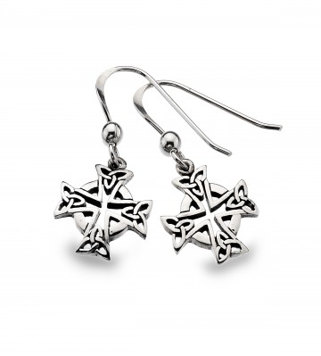 Celtic Cross Head Sterling Silver Earrings