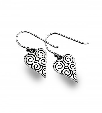 Celtic Heart & Spirals Sterling Silver Earrings
