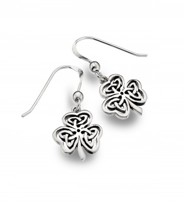Celtic Shamrock Knotwork Sterling Silver Earrings