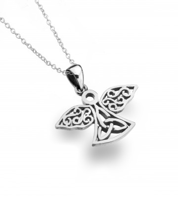 Celtic Angel & Trinity Sterling Silver Pendant Necklace