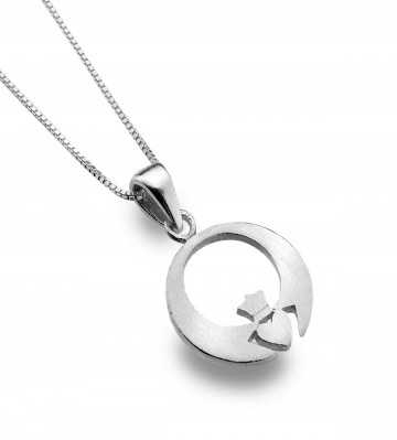 Celtic Claddagh Modern Sterling Silver Pendant Necklace