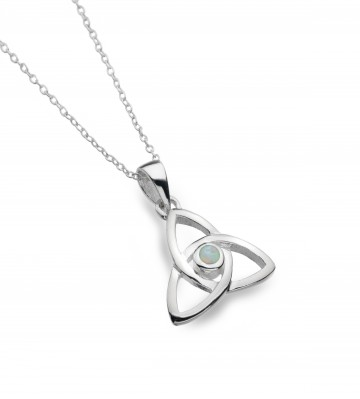 Celtic Trinity Knot Opal Sterling Silver Pendant Necklace