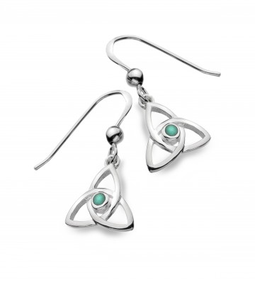Celtic Trinity Knot & Turquoise Sterling Silver Earrings