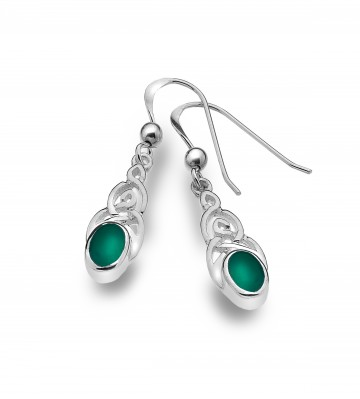 Celtic Knotwork & Green Agate Sterling Silver Earrings