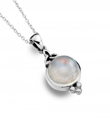 Celtic Trinity Moonstone & Balls Sterling Silver Pendant Necklace