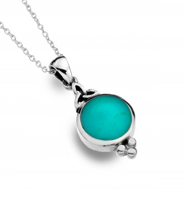 Celtic Trinity Turquoise & Balls Sterling Silver Pendant Necklace