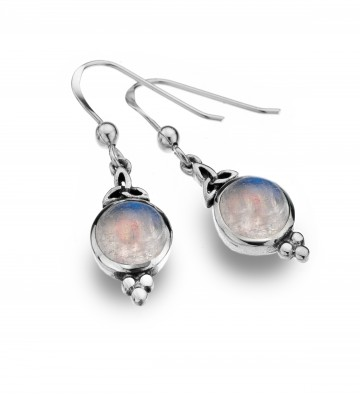 Celtic Trinity & Moonstone Balls Sterling Silver Earrings