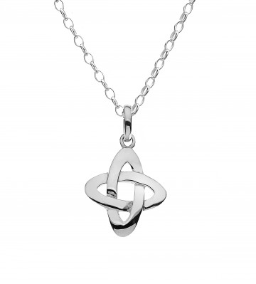 Celtic Knot Crossing Sterling Silver Pendant Necklace