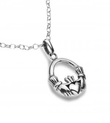 Celtic Claddagh Modern Sterling Silver Pendant Necklace