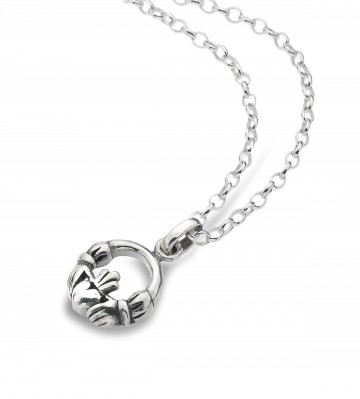 Celtic Claddagh Simple Sterling Silver Pendant Necklace