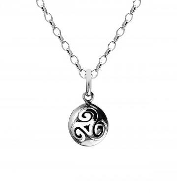 Celtic Triskele Solid Oxid Sterling Silver Pendant Necklace
