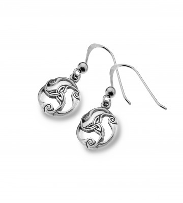 Celtic Trinity Knot & Scrolls Sterling Silver Earrings