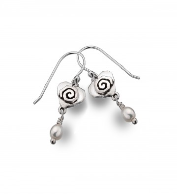 Celtic Heart & Scroll Pearl Sterling Silver Earrings