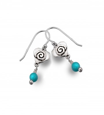 Celtic Heart & Scroll Turquoise Sterling Silver Earrings