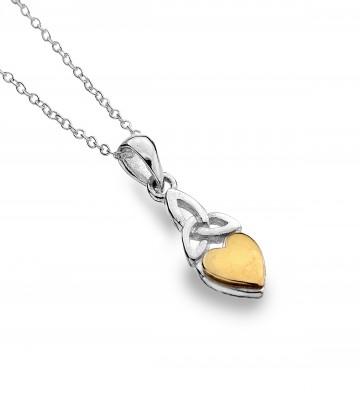 Celtic Heart Brass Trinity Knot Sterling Silver Pendant Necklace