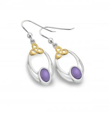 Celtic Knot & Amethyst Oval Sterling Silver Earrings