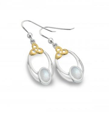 Celtic Knot & Moonstone Oval Sterling Silver Earrings