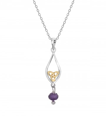 Celtic Knot & Amethyst Teardrop Sterling Silver Pendant Necklace
