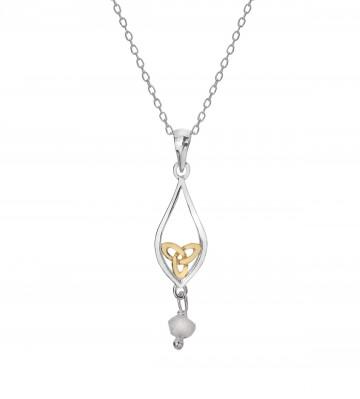 Celtic Knot & Moonstone Teardrop Sterling Silver Pendant Necklace