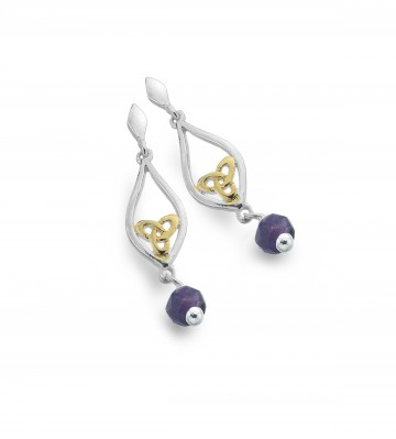 Celtic Knot & Amethyst Teardrop Sterling Silver Earrings