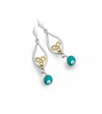 Celtic Knot & Turquoise Teardrop Sterling Silver Earrings