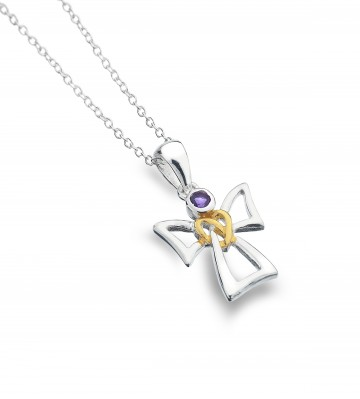 Celtic Angel & Amethyst Sterling Silver Pendant Necklace