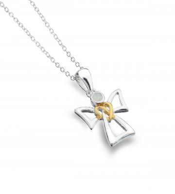 Celtic Angel & Opal Sterling Silver Pendant Necklace