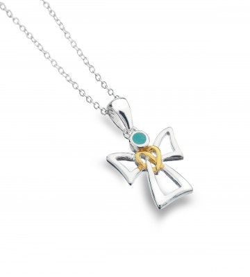 Celtic Angel & Turquoise Sterling Silver Pendant Necklace