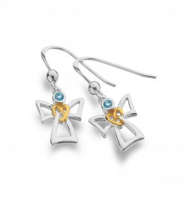 Celtic Angel & Topaz Sterling Silver Earrings