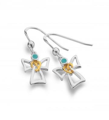 Celtic Angel & Turquoise Sterling Silver Earrings