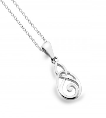 Celtic Trinity Knot & Spiral Sterling Silver Pendant Necklace