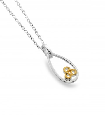 Celtic Trinity Knot Teardrop Sterling Silver Pendant Necklace