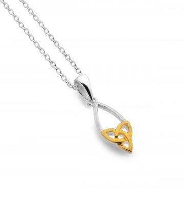 Celtic Trinity Knot Point Teardrop Sterling Silver Pendant Necklace