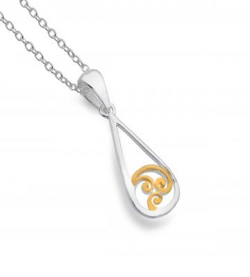 Celtic Spiral Teardrop Sterling Silver Pendant Necklace