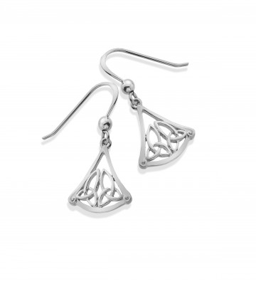 Celtic Trinity Knot Triangle Sterling Silver Earrings