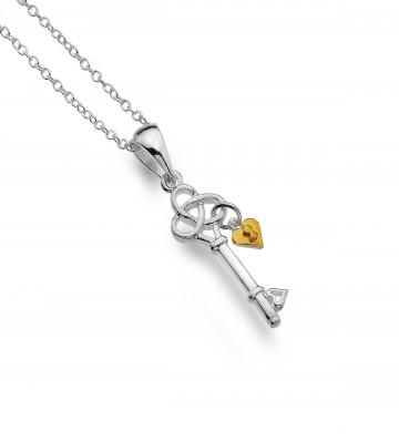 Celtic Trinity Knot Key & Heart Sterling Silver Pendant Necklace