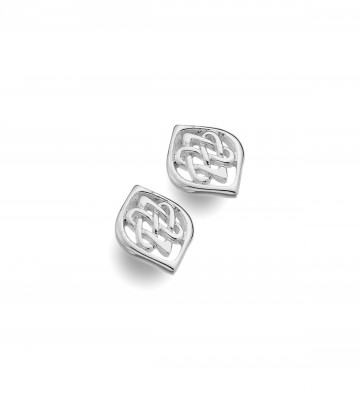Celtic Two Hearts Entwined Silver Stud Earrings