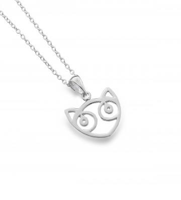 Celtic Cat Face Sterling Silver Pendant Necklace