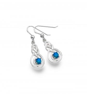 Celtic Double Knot & Blue Opal Sterling Silver Earrings